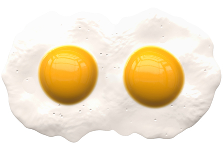 poached eggs isolated on white - 2 coupled - 3d rendering