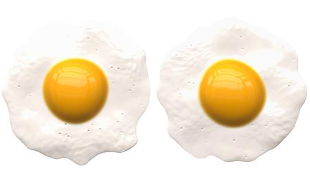 ? ufs pochés isolé sur blanc - 2 k - rendu 3d