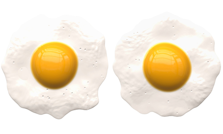 poached eggs isolated on white - 2 separated - 3d rendering