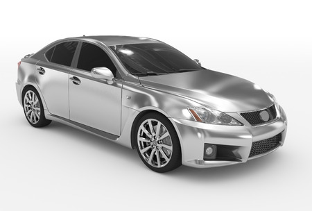 car isolated on white - silver, tinted glass - front-right side view - 3d rendering Stock Photo
