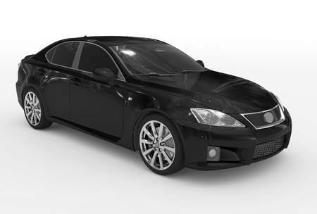 Coche aislado en blanco - pintura negra, vidrios polarizados - vista lateral frontal derecha - representación 3D Foto de archivo - 87896785