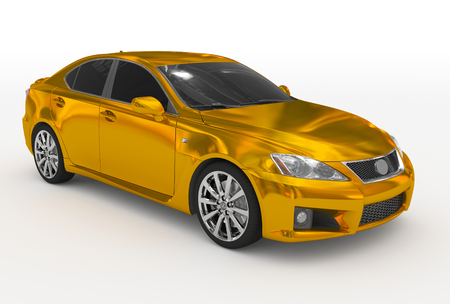 car isolated on white - golden, tinted glass - front-right side view - 3d rendering