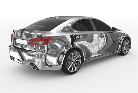 car isolated on white - chrome, tinted glass - back-right side view - 3d rendering