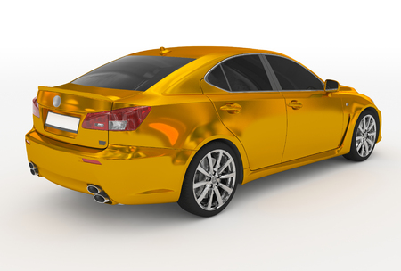 car isolated on white - golden, tinted glass - back-right side view - 3d rendering