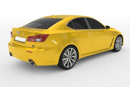 car isolated on white - yellow paint, tinted glass - back-right side view - 3d rendering