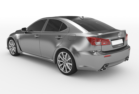 car isolated on white - metal, tinted glass - back-left side view - 3d rendering