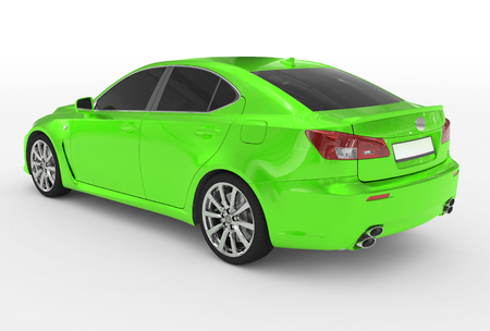 car isolated on white - green paint, tinted glass - back-left side view - 3d rendering