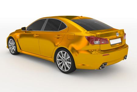 car isolated on white - golden, tinted glass - back-left side view - 3d rendering
