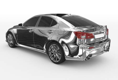 car isolated on white - chrome, tinted glass - back-left side view - 3d rendering