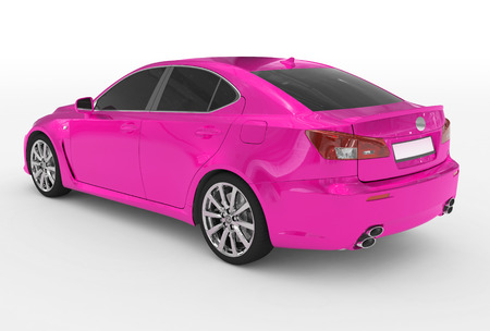 car isolated on white - purple paint, tinted glass - back-left side view - 3d rendering Stock Photo