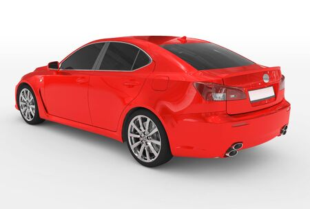 car isolated on white - red paint, tinted glass - back-left side view - 3d rendering Stock Photo