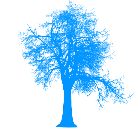 tree leafless side view silhouette isolated - blue - vector illustration