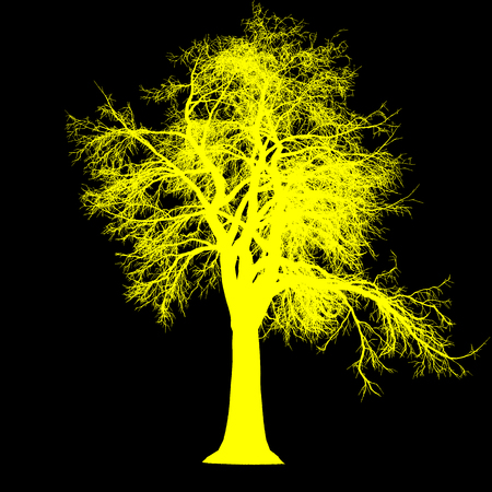 tree leafless side view silhouette isolated - yellow - vector illustration