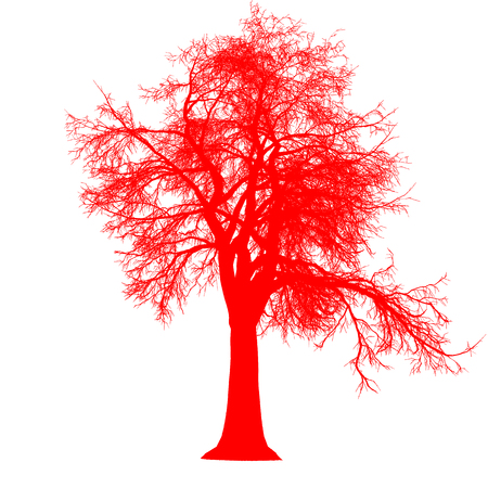 tree leafless side view silhouette isolated - red - vector illustration