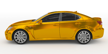 car isolated on white - golden, tinted glass - left side view - 3d rendering Stock Photo
