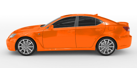 car isolated on white - orange paint, tinted glass - left side view - 3d rendering
