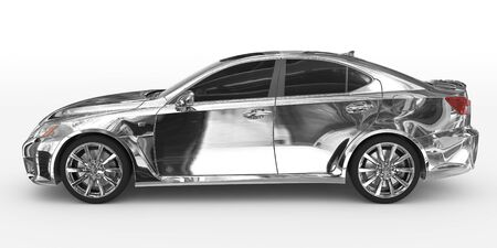 car isolated on white - chrome, tinted glass - left side view - 3d rendering Stock Photo