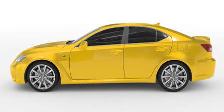 car isolated on white - yellow paint, tinted glass - left side view - 3d rendering