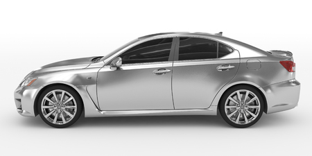 car isolated on white - silver, tinted glass - left side view - 3d rendering