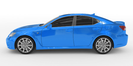 car isolated on white - blue paint, tinted glass - left side view - 3d rendering