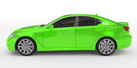 car isolated on white - green paint, tinted glass - left side view - 3d rendering