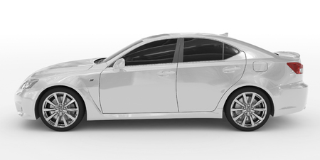car isolated on white - white paint, tinted glass - left side view - 3d rendering