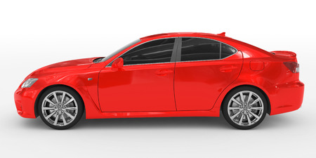 car isolated on white - red paint, tinted glass - left side view - 3d rendering
