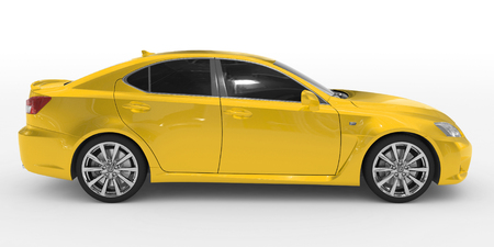 car isolated on white - yellow paint, tinted glass - right side view - 3d rendering