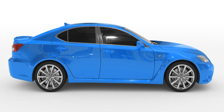 car isolated on white - blue paint, tinted glass - right side view - 3d rendering Stok Fotoğraf