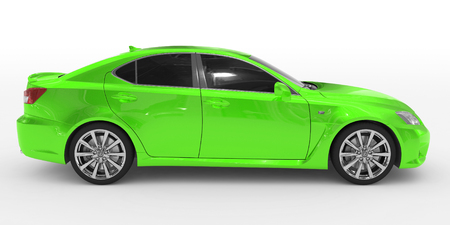 car isolated on white - green paint, tinted glass - right side view - 3d rendering