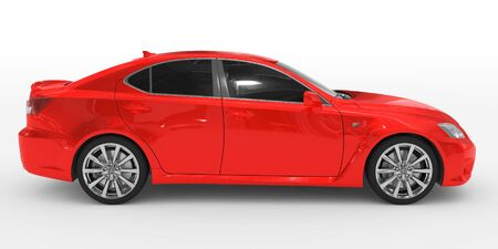 car isolated on white - red paint, tinted glass - right side view - 3d rendering Stock Photo