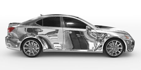 car isolated on white - chrome, tinted glass - right side view - 3d rendering