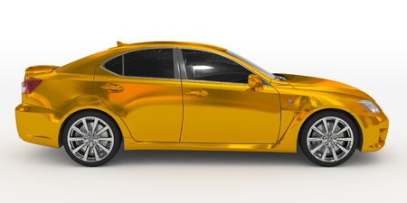 car isolated on white - golden, tinted glass - right side view - 3d rendering