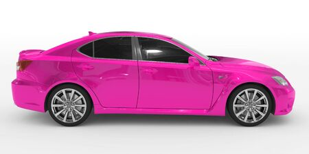 car isolated on white - purple paint, tinted glass - right side view - 3d rendering