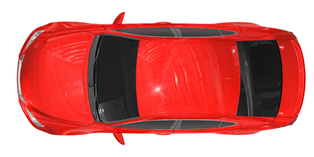 car isolated on white - red paint, tinted glass - top view - 3d rendering Stock Photo