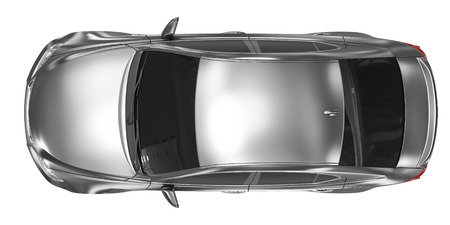 car isolated on white - metal, tinted glass - top view - 3d rendering Stock Photo