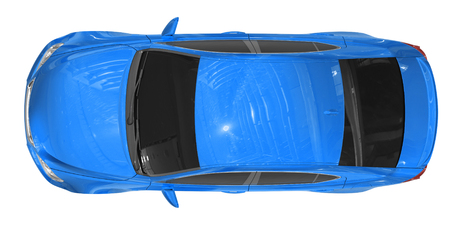 car isolated on white - blue paint, tinted glass - top view - 3d rendering Stock Photo