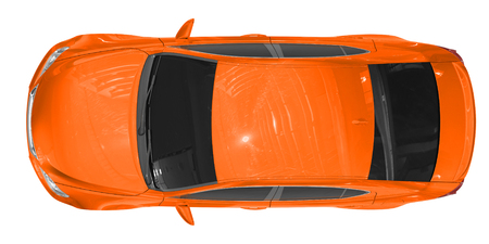 car isolated on white - orange paint, tinted glass - top view - 3d rendering Stock Photo