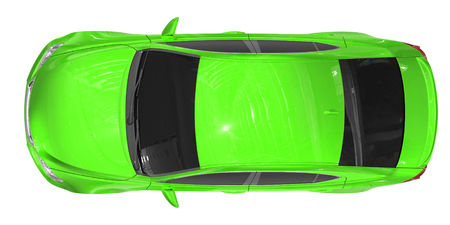 car isolated on white - green paint, tinted glass - top view - 3d rendering Stock Photo