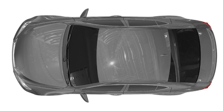 car isolated on white - gray paint, tinted glass - top view - 3d rendering
