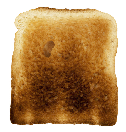 bread slice - single baked toast close-up - isolated on white - 3d rendering