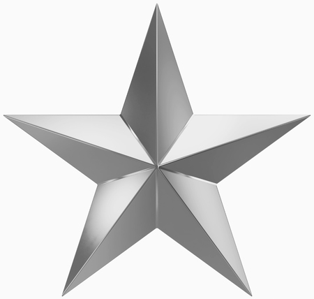 Christmas Star silver - 5 point star - isolated on white - 3d rendering 免版税图像 - 90602605