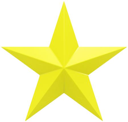 Gele Kerstmisster - ster 5 die punt - op wit wordt geïsoleerd - het 3d teruggeven Stockfoto - 90602642