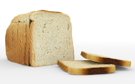 bread sliced - toast - arrangement isolated on white - 3d rendering Stock Photo
