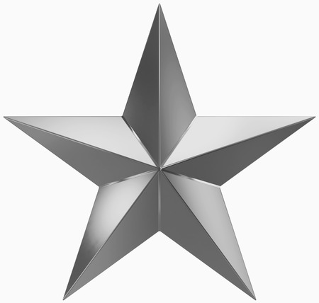 Christmas Star metal - 5 point star - isolated on white - 3d rendering
