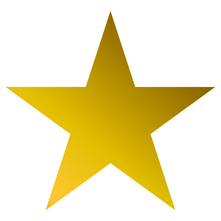 Christmas star golden - simple 5 point star - isolated on white - vector illustration