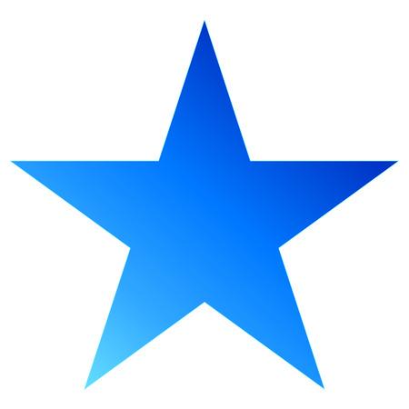 Christmas star blue - simple 5 point star - isolated on white - vector illustration Stock Illustratie