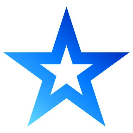 Christmas star blue - outlined 5 point star - isolated on white - vector illustration Vettoriali