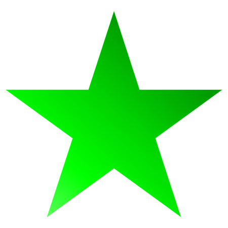 Christmas star green - simple 5 point star - isolated on white - vector illustration Vettoriali