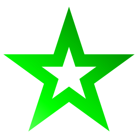 Christmas star green - outlined 5 point star - isolated on white - vector illustration Illustration